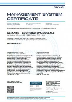 Certificazione di Qualità ISO 9001:2015